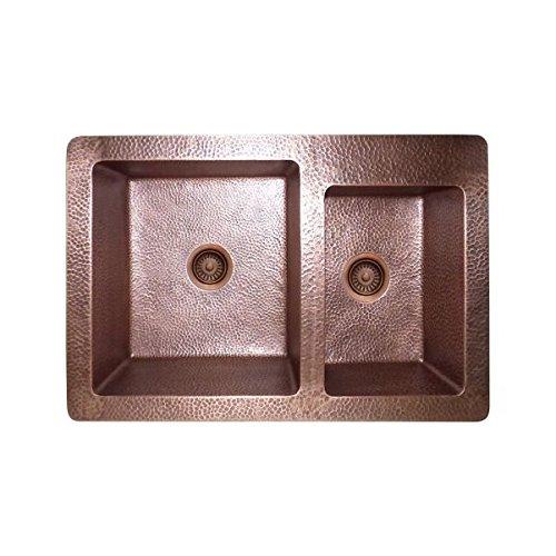 LOTTARE 200125 Double Bowl Solid Copper Farmhouse Sink 60/40