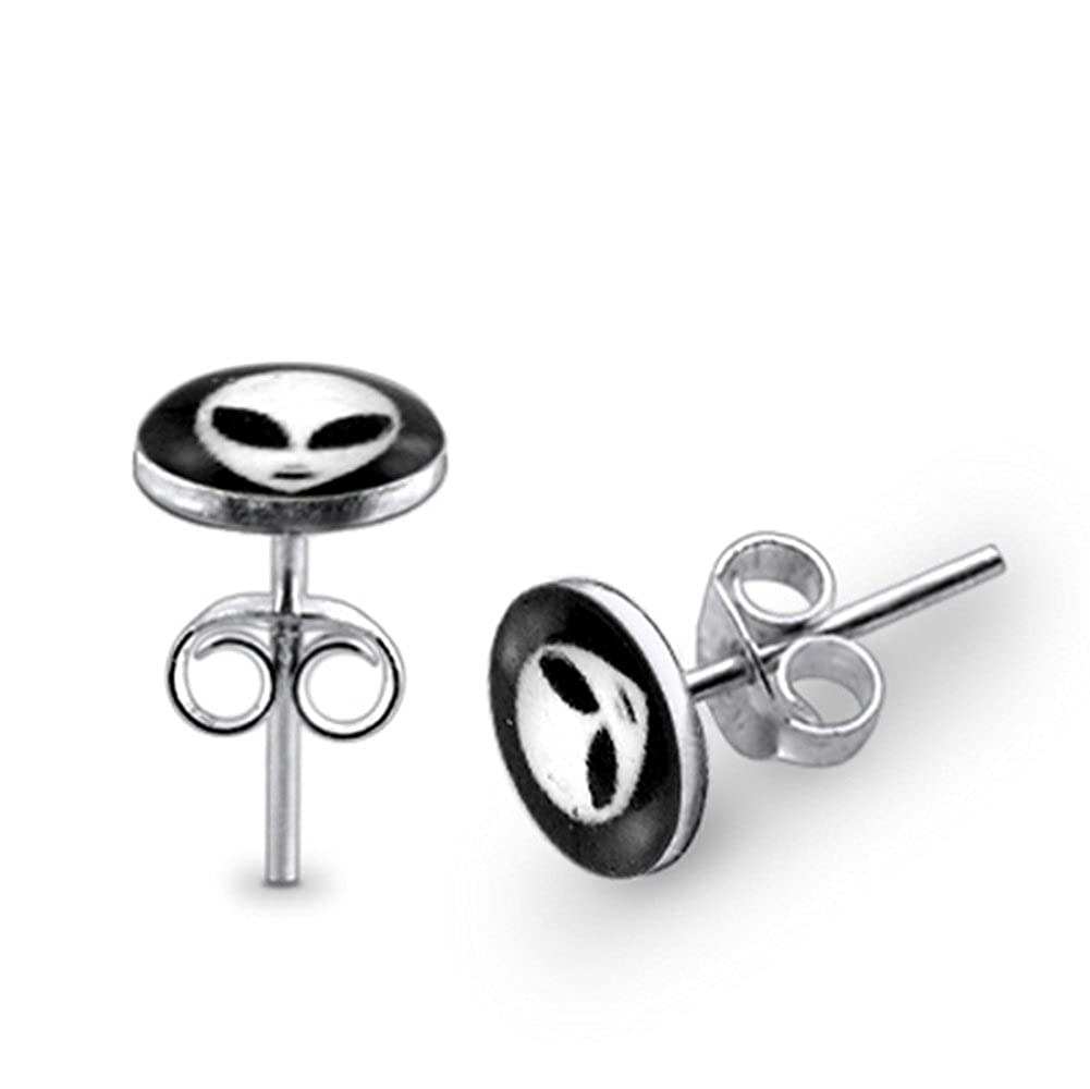 Alien Face Logo 925 Sterling Silver Stud Earring. Sold by Pair PiercingPoint PP-828RAE-PP