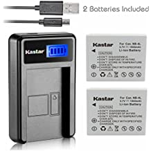 Kastar Battery (X2) & LCD Slim USB Charger for Canon NB-4L, CB-2LV and ELPH 100 HS, 310 HS, 300HS, 330HS, Powershot SD1400 IS, SD750, SD1000, SD600, SD1100 IS, SD630, SD400, SD450, SD780, VIXIA mini