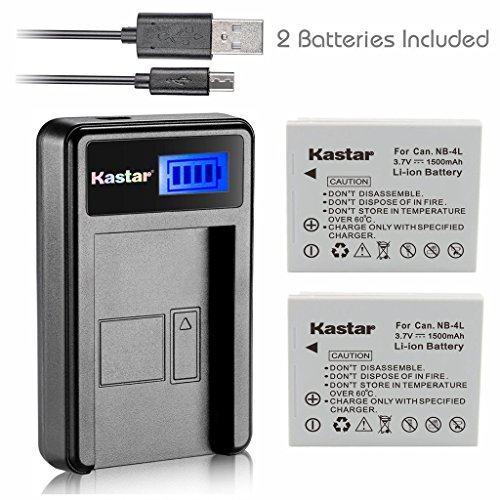 Kastar Battery (X2) & LCD Slim USB Charger for Canon NB-4L, CB-2LV and ELPH 100 HS, 310 HS, 300HS, 330HS, Powershot SD1400 IS, SD750, SD1000, SD600, SD1100 IS, SD630, SD400, SD450, SD780, VIXIA mini ()