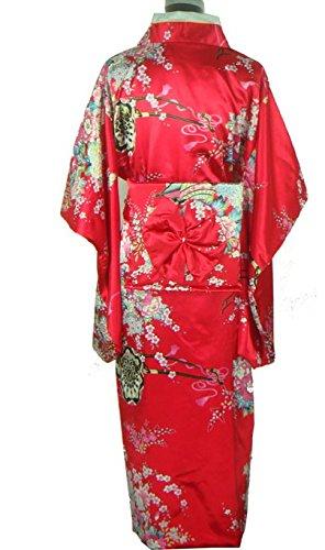 Bigood Robe de Chambre Femme Kimono Long Jaonais Imitation de Soie
