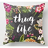 JeremyArtStore 18 x 18 Inches Decorative Cotton Linen Square Throw Pillow Case Cushion Cover Beautiful Flower Painting Thug Life Black Design