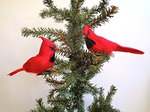 Cardinal Feather - Lamplight Feather, Inc. Perched Cardinal, Holiday, Christmas Tree Ornament with Wired Feet, per 2 birds