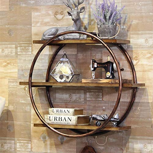 GAO XING SHOP Floating Shelves Round Wall-Mounted Metal Frame, Retro Industrial Style Wall-Mounted Cubic Horizontal Bookshelf Storage Display Stand Wall-Mounted Unit Frame Decoration (Color : Bronze)
