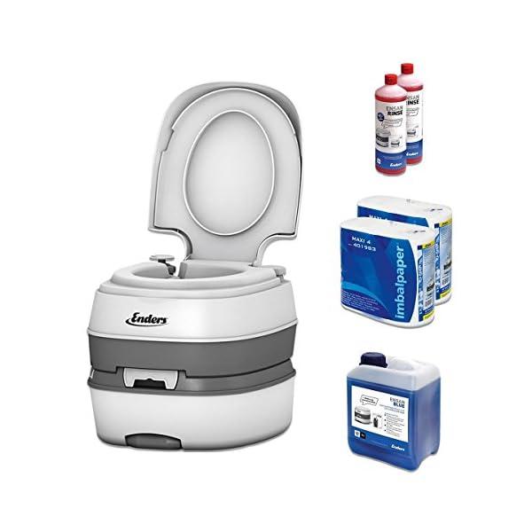 51hqGKGF9 L Campingtoilette Starter-Set Blue 5,0 Enders Deluxe [ 4994 ]: inkl. Sanitärflüssigkeit und WC Papier - mobile…