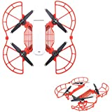 Drone Fans Spark 1 set Propeller Guards Blade Protectors + 1 set Landing Gear Stabilizers Legs Extender Kit Propeller Bumpers Combo and Finger Guards Red for DJI SPARK Drone