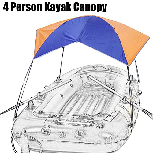 - 4 Person Inflatable Kayak Awning Canopy,Portable and Foldable for Boat and Camping Sun Shelter Fishing Tent Sun Shade Canopy(No Boat Included)