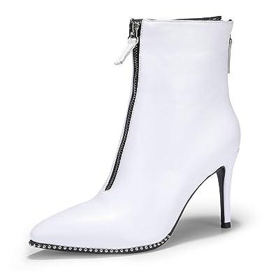 1e92266b084e IDIFU Women s Vivian-W Pointed Toe Short Boots Beaded Trim High Stiletto Heels  Ankle Booties