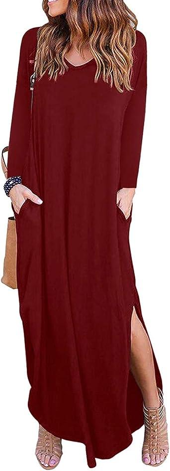 Vestidos de Mujer Vestido Largo y Holgado Camisa de Vestir Maxi Vestido con Bolsillos Vestido de Fiesta con Cuello en V Vestido de Playa de Manga ...