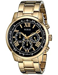 GUESS Men's U0379G4 Stunning Gold-Tone Chronograph Watch with Black Dial