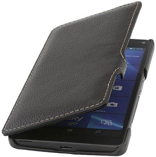StilGut Book Type, Funda de piel auténtica con cierre Clip para el Microsoft Lumia 950 XL / 950 XL Dual SIM, Negro Negro