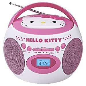 hello kitty portable bluetooth cd boombox with am fm stereo radio home audio theater. Black Bedroom Furniture Sets. Home Design Ideas