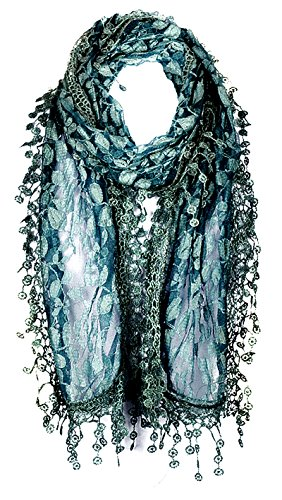 AN Pretty Crochet Scarf Fashion Leafy Lace Scarf Womens With Tassels Mallard Green - Green Crochet Scarf
