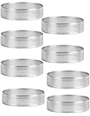 YOKOKO 8 Pack Steel Tart Rings, Heat-Resistant Perforated Cake Mousse,Cake,Round Cake Baking Tools