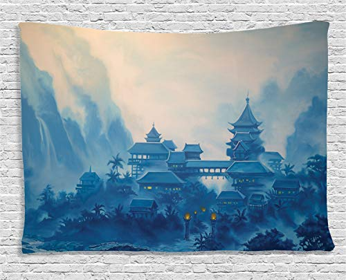 - Ambesonne Asian Tapestry, Chinese Building Paint Mist with Lanterns at Night Oriental Image Oriental, Wide Wall Hanging for Bedroom Living Room Dorm, 60