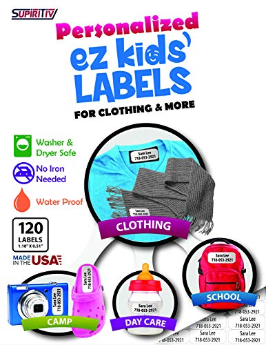 Custom Personalized All Purpose Ez Kids and Adults Clothing Name Labels - 120 pcs, Stick-On No-Iron, Washer, Dryer & Dishwasher Safe