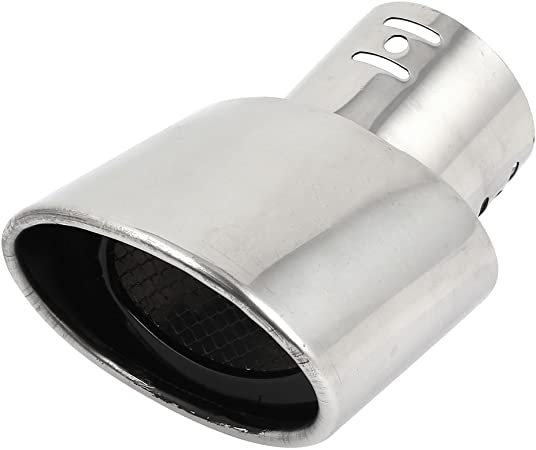 sourcing map 8,5cm Cola de Escape Coche Acero Inoxidable Tubo Silenciador para 207 307 308