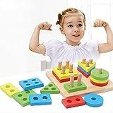 1 PC Geometric Board Baby Intelligence Toys Shape Matching Set of Column Wooden Blocks Wise Disk Set Column Building Blocks Wooden Educational Toy
