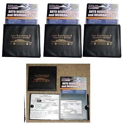 Sterling Set of 3 Auto Car Registration Insurance Holder Wallet: Home & Kitchen