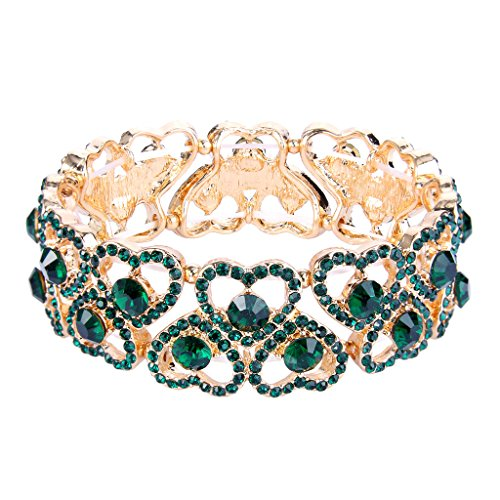 Faith Heart Bracelet (EVER FAITH Women's Austrian Crystal Sweet Love Heart Bridal Elastic Stretch Bracelet Green Gold-Tone)