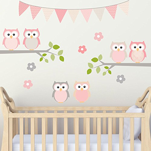 Decal the Walls Nursery Room Owls on Branch Pink and Grey 100% Woven Fabric Adhesive Back Decal (Owl Fabric Pink)