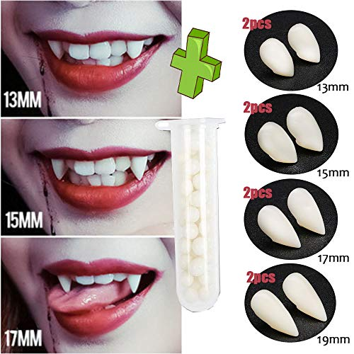 Starhig 4 Different Sizes Vampire Fangs Tooth with Adhesive for Halloween Party Cosplay Favors Props Decoration