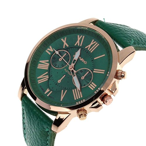 FAPIZI Clearance Women Quartz Watch}✿Fashion/Geneva Roman Numerals{Faux Leather}Analog Quartz/Ladies Wrist Watch (Dark (Numerals Women Watch)