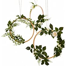 ling's moment Spring Summer Greenery Wedding Handcrafted Vine Wreaths Set of 3, Wedding Decor Rustic Wedding Backdrop, Artificial Roses Plant Flower Garland, Woodland Wedding decoration Floral Hoop