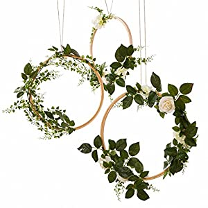 Ling's moment Summer Greenery Wedding Handcrafted Vine Wreaths Set of 6, Christmas Decor Rustic Wedding Backdrop, Artificial Roses Plant Flower Garland, Woodland Wedding Decoration Floral Hoop 112