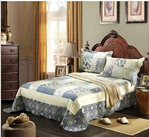 Tache Colorful Print Patchwork Floral Reversible Lightweight Country Quilted Bedspread Quilt Set (Queen, Seaside Villa)