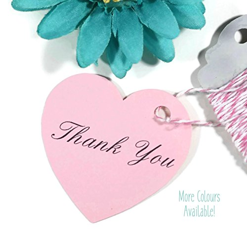 Light Pink Heart Thank You Wedding Favor Tags (Set of 20) (Wedding Tags Favor Set)