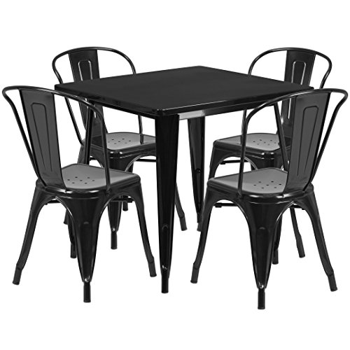 MFO 31.5'' Square Black Metal Indoor-Outdoor Table Set with 4 Stack Chairs