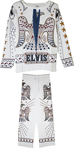 Taylor Specialties Elvis Presley Costume Jumpsuit Mens Pajamas [White - 2XL] ()