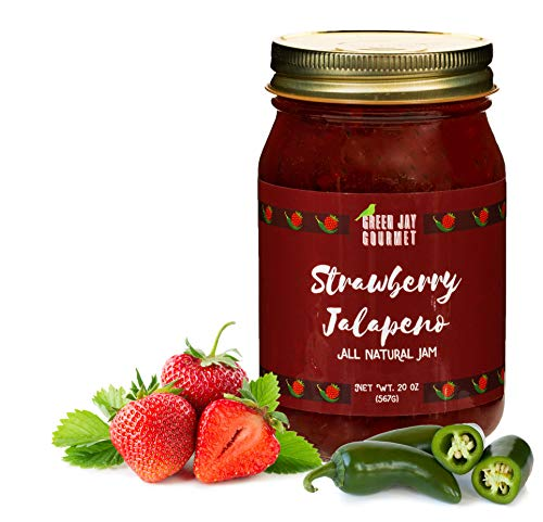 Green Jay Gourmet Strawberry Jalapeno Jam - All-Natural Strawberry Jam with Fresh Strawberries, Jalapeno Peppers & Lemon Juice - Vegan, Gluten-free Jam with No Preservatives - Made in USA - 20 Ounces
