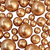 Floating No Hole Gold Pearls - Jumbo/Assorted Sizes Vase Decorations + Includes Transparent Water Gels for Floating The Pearls