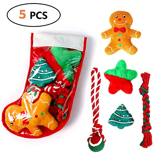 Highland Farms Select Christmas Dog Stocking Gifts Set - Dog Toy Filled - Festive Puppy Stocking Variety Pack Toy with Squeaky Toy/Cotton Knotted Rope Toy - 5 Packs