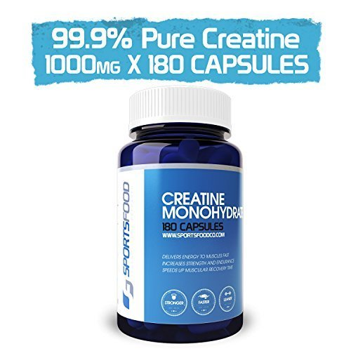 Foods Creatine Monohydrate Tabs - Creatine Monohydrate 1000mg x 180 Tablets, Fast Absorption, Anabolic Growth by Sports Food