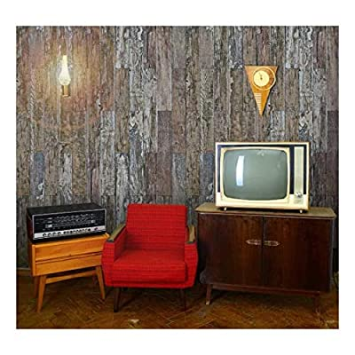 Magnificent Artisanship, Vertical Brown Rusty and Retro Wood Textured Paneling Wall Mural Removable Wallpaper, Created By a Professional Artist