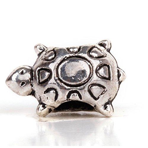 RUBYCA 50pcs Tibetan Silver Tone Spacer Beads Fit European Charms Bracelet Turtle Sun Shell ()