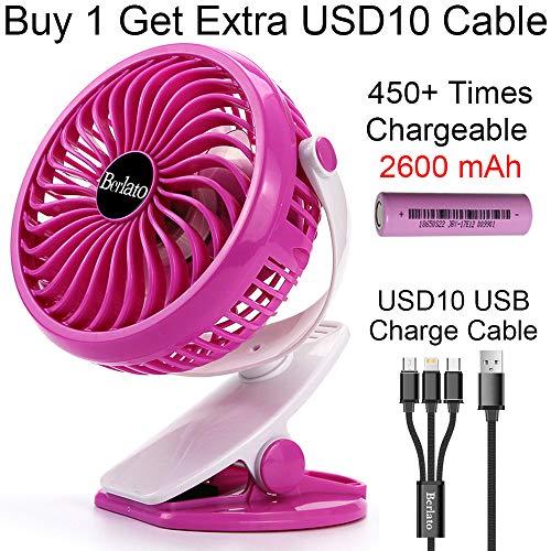 Berlato 2018 Portable Fan Clip on USB Mini Fan with 2600mAH