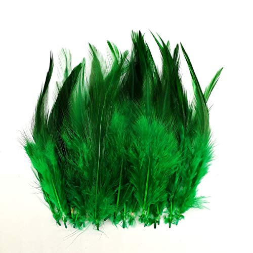100pcs Saddle Feathers Hackle Rooster Feathers Dyed Neck Feathers for Craft DIY Pendant Earrings Jewelry Costume Dream Catcher 5-6 Inch (Grass Green)