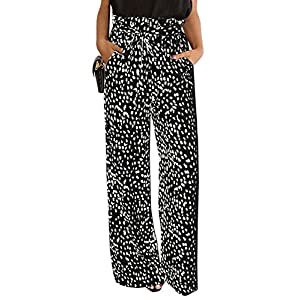 SySea Womens High Waisted Leopard Print Palazzo Pants Belted Wide Leg Long Trousers with Pockets