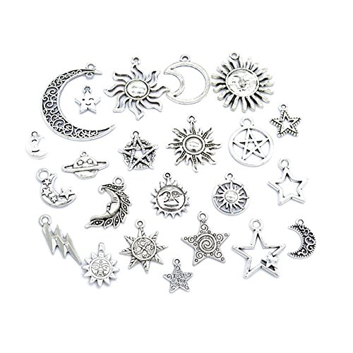 69pcs Mixed Antique Silver Charms Moon &Sun and Star Tibetan Pendant Making DIY Jewelry Bracelet Necklace (69pcs Mixed)