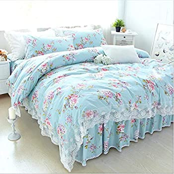 FADFAY Home Textile Pink Rose Floral Print Duvet Cover Bedding Set For Girls 4 Pieces Twin Size SYNCHKG039384