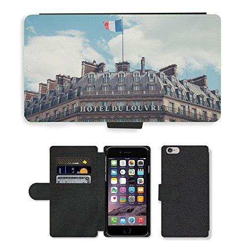 "PU Leather Cover Custodia per // M00421569 Édifice Hôtel Classique architecture // Apple iPhone 6 4.7"""