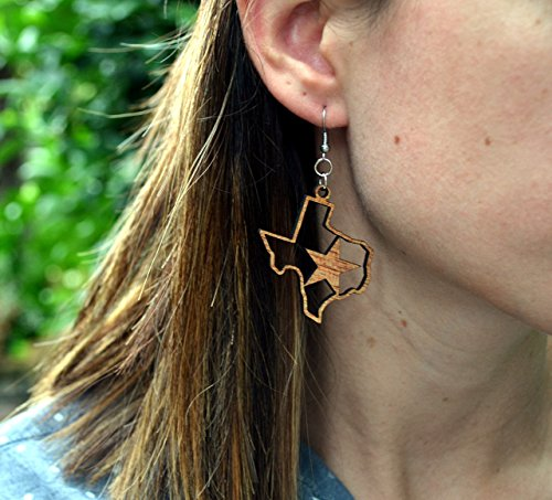 Texas Strong Houston Strong Earrings from Solid Wood ()
