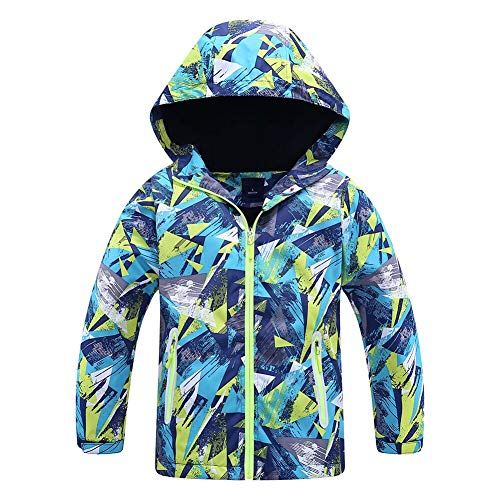 - Jingle Bongala Kids' Boys' Girls' Outdoor Waterproof Fleece Jacket with Hood Coat Climbing Hiking Windbreaker-NavyGreen-150