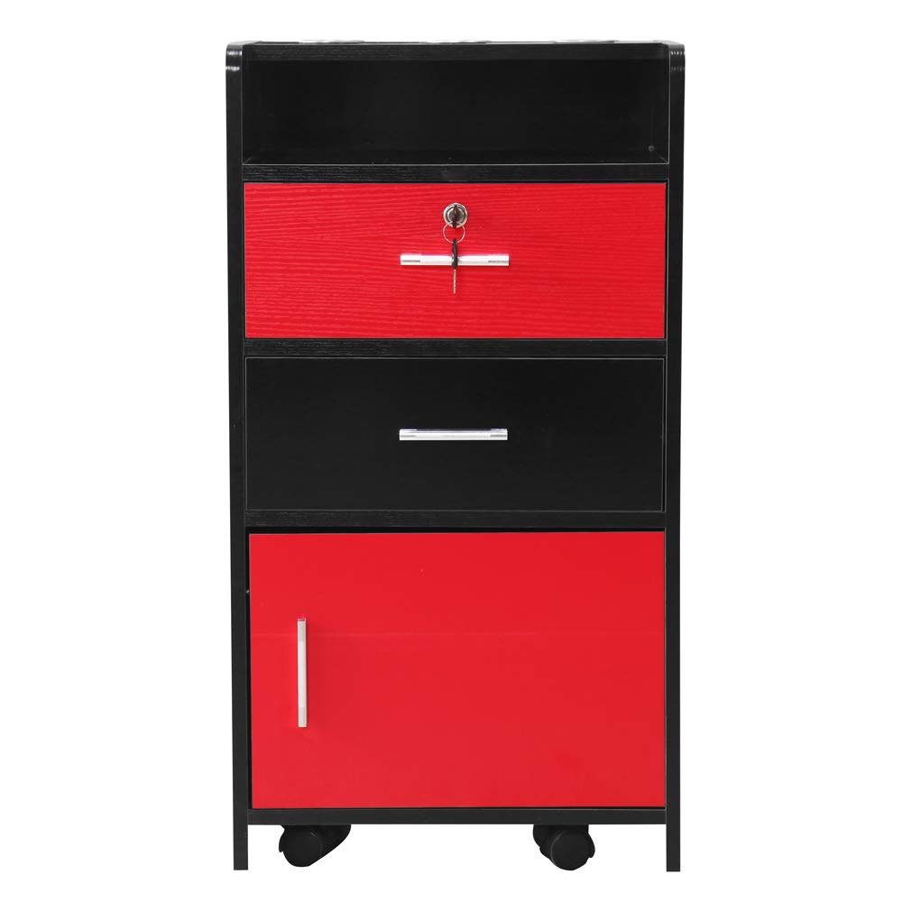 Salon Wood Rolling Drawer Cabinet Trolley Spa 3-Layer Cabinet Equipment with A Lock Black & White (Black&red)