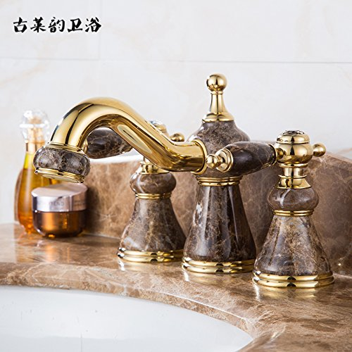 LHbox Basin Mixer Tap Bathroom Sink Faucet Natural Rosin Gold-Colored Jade Three Hole Faucet hot and Cold 8-inch Split Antique Marble Washing Basin Faucet, Gold Coffee-Colored