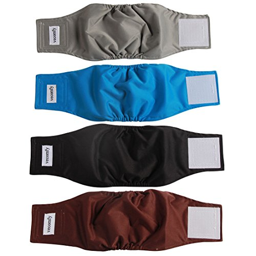 vecomfy Washable Belly Bands for Male Dogs(4 Pack),Premium Reusable Small Dog Wrap Leakproof Doggie Diapers, ()